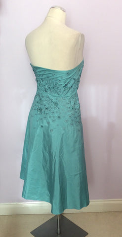 Brand New Monsoon Duck Egg Silk Strapless / Strappy Dress Size 8 - Whispers Dress Agency - Womens Dresses - 3