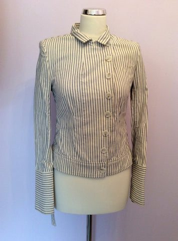 All Saints Blue & Ivory Pinstripe Cotton Jacket Size 10 - Whispers Dress Agency - Womens Coats & Jackets - 2