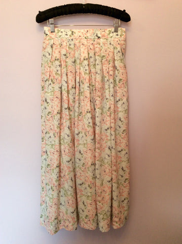 Vintage Jaeger Pale Pink, Blue & Green Floral Print Blouse & Skirt Size 10 - Whispers Dress Agency - Womens Vintage - 4