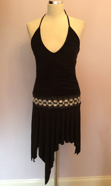 LIPSY BLACK JEWEL TRIM COCKTAIL DRESS SIZE M/L - Whispers Dress Agency - Womens Dresses - 1