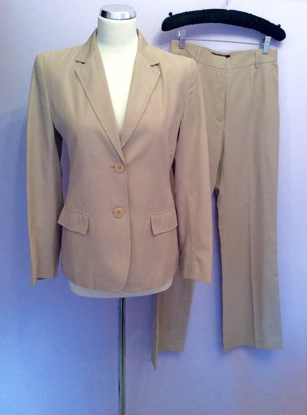 Max Mara Beige Jacket & Trouser Suit Size 8 - Whispers Dress Agency - Womens Suits & Tailoring - 1