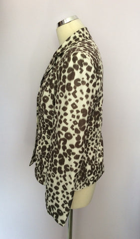 BETTY BARCLAY IVORY & BROWN PRINT JACKET SIZE 12 - Whispers Dress Agency - Womens Coats & Jackets - 2
