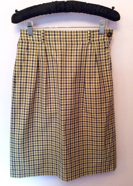 Aquascutum Beige, Brown & Blue Check Pencil Skirt Size 10 - Whispers Dress Agency - Sold - 1