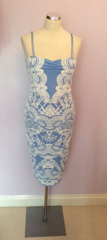 625f7c406b Brand New Lipsy Blue & White Print Sweetheart Dress Size 12 - Whispers Dress  Agency ...