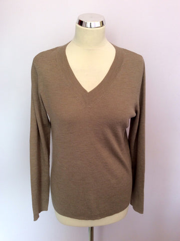 Edina Ronay Light Brown Merino Wool V Neck Jumper Size XL - Whispers Dress Agency - Womens Knitwear