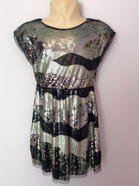 New Marks & Spencer Black & Silver Sequin Dress Age 8 Years - Whispers Dress Agency - Sold - 1