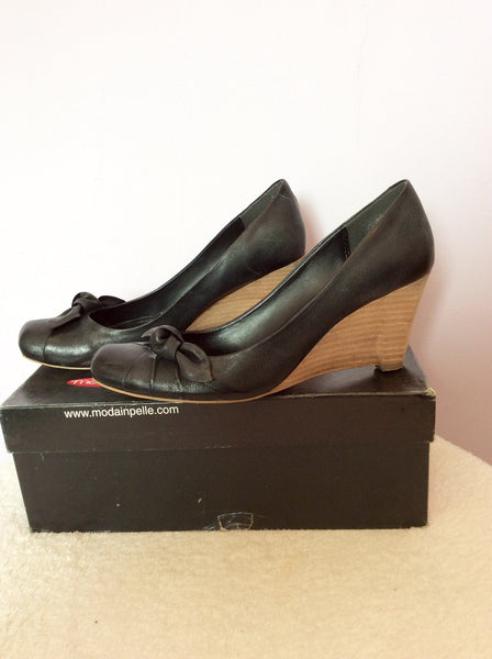 Moda In Pelle Black Leather Wedge Heels Size 7/40 - Whispers Dress Agency - Womens Wedges - 1
