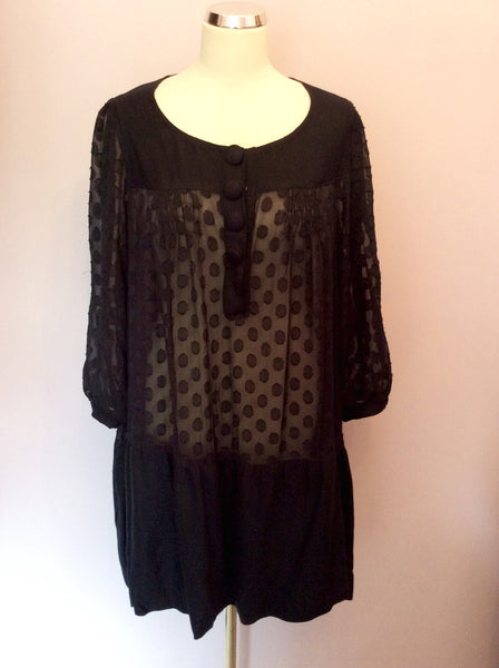 Diabless Dark Blue Spot Smock Top Size 3 UK 14/16 - Whispers Dress Agency - Sold - 1