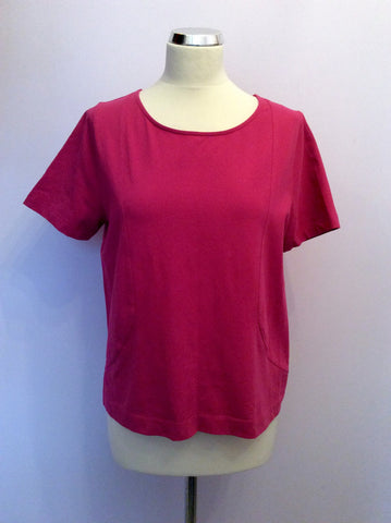 JAEGER DEEP PINK SHORT SLEEVE TOP SIZE L - Whispers Dress Agency - Womens Tops - 1