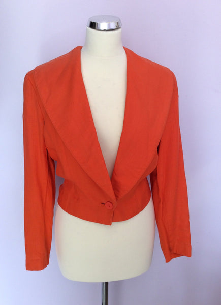 Vintage Paul Costelloe Orange Linen Jacket Size 8 - Whispers Dress Agency - Womens Vintage - 1