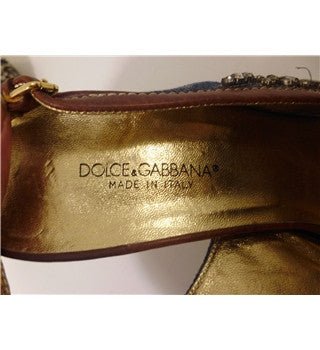 Dolce & Gabbana Tan Leather & Blue Denim Jewel Trim Slingback Heels Size 5.5/38.5 - Whispers Dress Agency - Womens Sandals - 5