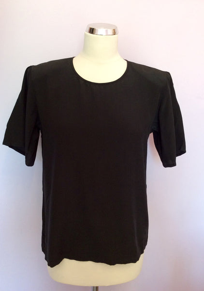 Vintage Jaeger Black Silk Short Sleeve Top Size Approx 10 - Whispers Dress Agency - Sold - 1