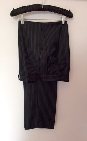 Racing Green Navy Blue Pinstripe Wool Suit Size 40L/ 34L - Whispers Dress Agency - Mens Suits & Tailoring - 5