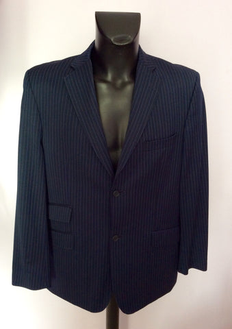 Ted Baker Endurance Navy Blue Pinstripe Wool Suit Size 42/34W - Whispers Dress Agency - Mens Suits & Tailoring - 2
