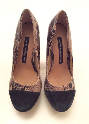 BRAND NEW FRENCH CONNECTION BEIGE & BLACK SNAKESKIN PLATFORM HEELS SIZE 3.5/36 - Whispers Dress Agency - Womens Heels - 2