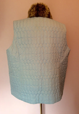 Liz Claibourne Light Blue Faux Fur Collar Gilet Size XXL - Whispers Dress Agency - Womens Gilets & Body Warmers - 2