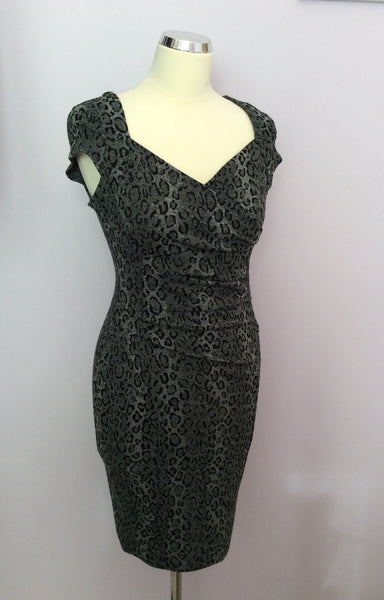 Lipsy Grey Leopard Print V Neck Wiggle Pencil Dress Size 10 - Whispers Dress Agency - Womens Dresses - 1