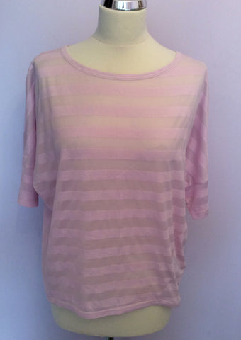 KAREN MILLEN PINK STRIPED SHORT SLEEVE TOP SIZE 10 - Whispers Dress Agency - Womens T-Shirts & Vests - 1