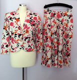 Peter Martin Floral Print Linen Skirt & Jacket Suit Size 12 - Whispers Dress Agency - Womens Suits & Tailoring - 1
