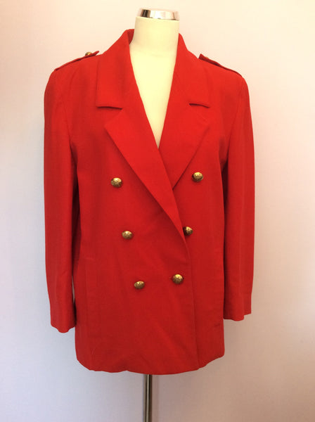 Vintage Jaeger Red Wool Double Breasted Jacket Size 10 - Whispers Dress Agency - Womens Vintage - 1