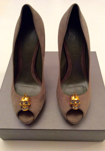 Alexander Mcqueen Olive Green Suede Skull Trim Heels Size 8/41 - Whispers Dress Agency - Womens Heels - 4