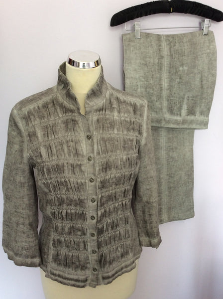 BETTY BARCLAY GREY LINEN JACKET/TOP & TROUSER SUIT SIZE 10 - Whispers Dress Agency - Womens Suits & Tailoring - 1