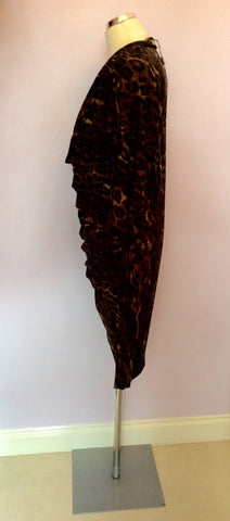 BRAND NEW BIBA BROWN LEOPARD PRINT COWL DRESS SIZE 16 - Whispers Dress Agency - Womens Dresses - 3