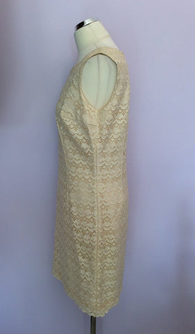 Vintage Dortona Cream Lace Pencil Dress Size Approx 14 - Whispers Dress Agency - Womens Vintage - 2