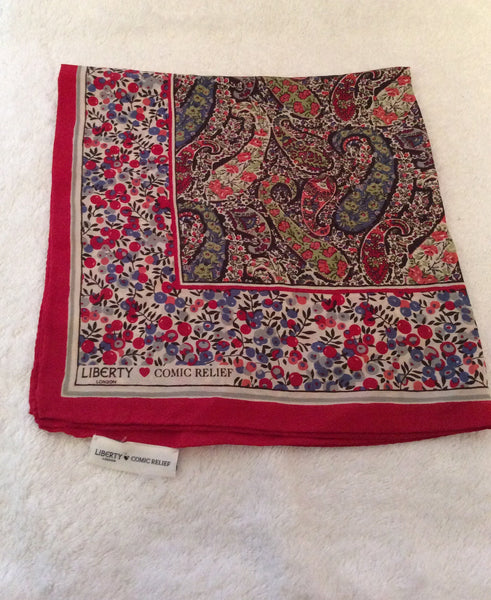 New Limited Edition Liberty Red/Blue Silk Scarf For Comic Relief - Whispers Dress Agency - Sold - 1