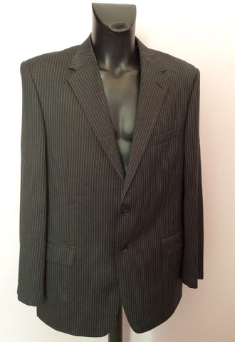 Marks & Spencer Autograph By Timothy Everast Dark Grey Pinstripe Wool Suit Size 44L/40W - Whispers Dress Agency - Mens Suits & Tailoring - 2