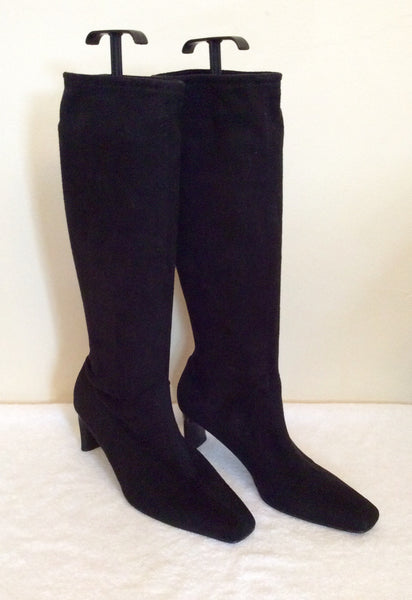 Black Faux Suede Stretch Knee High Boots Size 7/40 - Whispers Dress Agency - Sold - 1