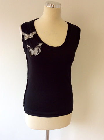 DOLCE & GABBANA BLACK BUTTERFLY TRIM SLEEVELESS TOP SIZE 38 UK 6/8