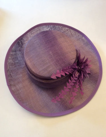 Snoxell Gwyther Dark Lilac / Mauve Wide Brim Flower Trim Formal Hat - Whispers Dress Agency - Womens Formal Hats & Fascinators - 5