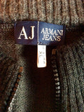 Armani Jeans Black & Grey Stripe Zip Up Cardigan Size XL - Whispers Dress Agency - Sold - 3