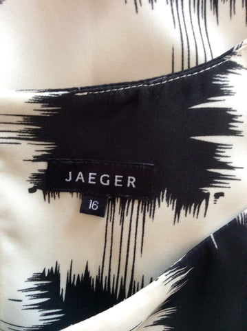 Brand New Jaeger Black & White Print Silk Dress With Tie Belt Size 16 - Whispers Dress Agency - Sold - 4