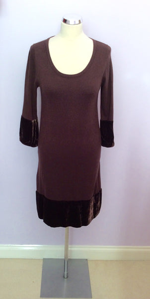 Boden Brown Knit Velvet Trim Dress Size 12 - Whispers Dress Agency - Sold - 1