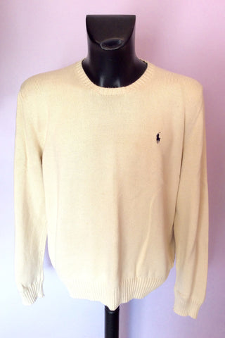 Ralph Lauren Cream Crew Neck Cotton Jumper Size L - Whispers Dress Agency - Mens Knitwear - 1