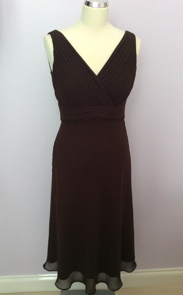 John Lewis Dark Brown Pleated Top Dress Size 10 - Whispers Dress Agency - Womens Dresses - 1