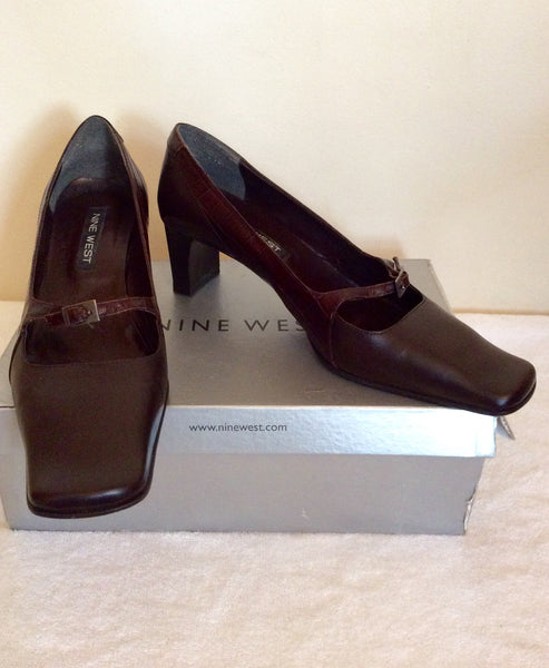 Nine West Brown Leather Buckle Strap Heels Size 7/40 - Whispers Dress Agency - Womens Heels - 1