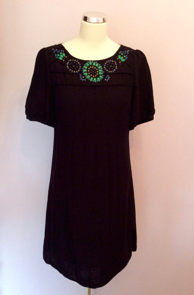 Monsoon Black Beaded Neckline Dress Size 8 - Whispers Dress Agency - Womens Dresses - 1
