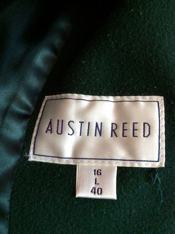 Austin Reed Dark Green Wool & Cashmere Blend Coat Size 16 - Whispers Dress Agency - Womens Coats & Jackets - 4