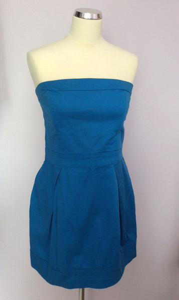 French Connection Turquoise Blue Strapless Dress Size 16 - Whispers Dress Agency - Womens Dresses - 1