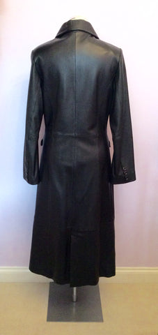 BRAND NEW BENNYS SHOP BLACK SOFT LEATHER LONG COAT SIZE S - Whispers Dress Agency - Womens Coats & Jackets - 4