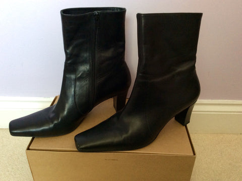 LK Bennett Black Leather Heeled Ankle Boots Size 8/42 - Whispers Dress Agency - Womens Boots - 2
