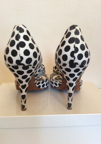 Alima Black & White Spot Canvas Peeptoe Heels Size 7/40 - Whispers Dress Agency - Womens Heels - 5