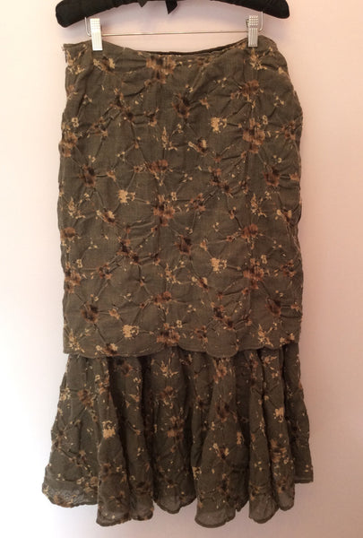 Gabi Lauton Brown Print Wool Skirt Size 16 - Whispers Dress Agency - Sold - 1