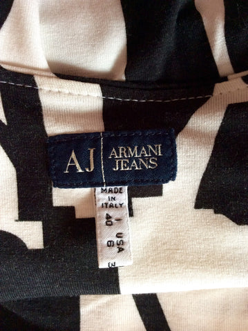 Armani Jeans Black & White Print Strappy Top Size 10 - Whispers Dress Agency - Womens T-Shirts & Vests - 3