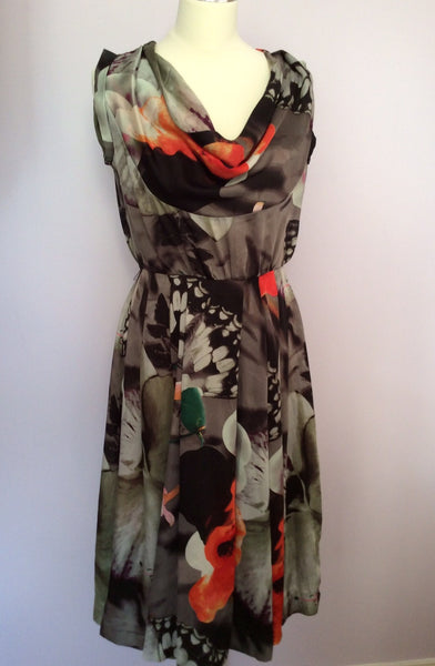 Full Circle Grey & Orange Floral Print Dress Size 8 / XS - Whispers Dress Agency - Womens Dresses - 1