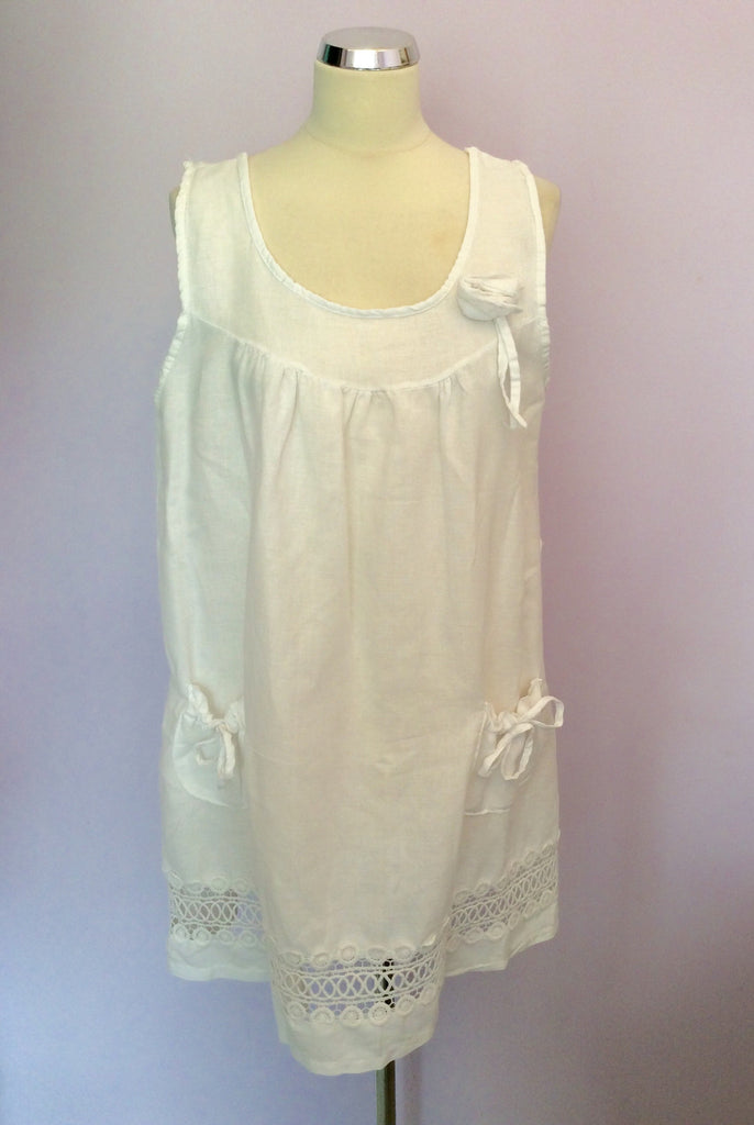 73b42c93c2c MADE IN ITALY WHITE LINEN TUNIC TOP SIZE XXXL - Whispers Dress Agency -  Womens Tops