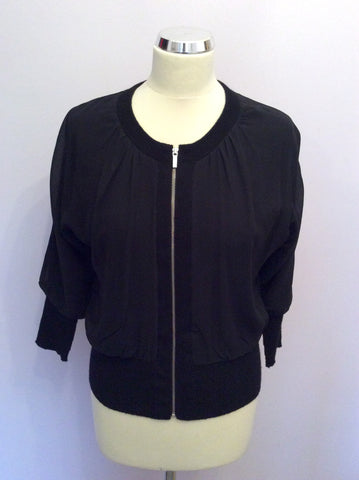 BANANA REPUBLIC LUXURIOUS BLACK SILK & CASHMERE LINED BOMBER JACKET SIZE XS - Whispers Dress Agency - Womens Coats & Jackets - 1